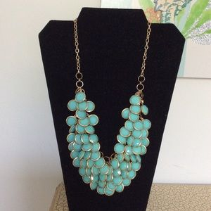 Statement Necklace w/Turquoise Green Color Beads.